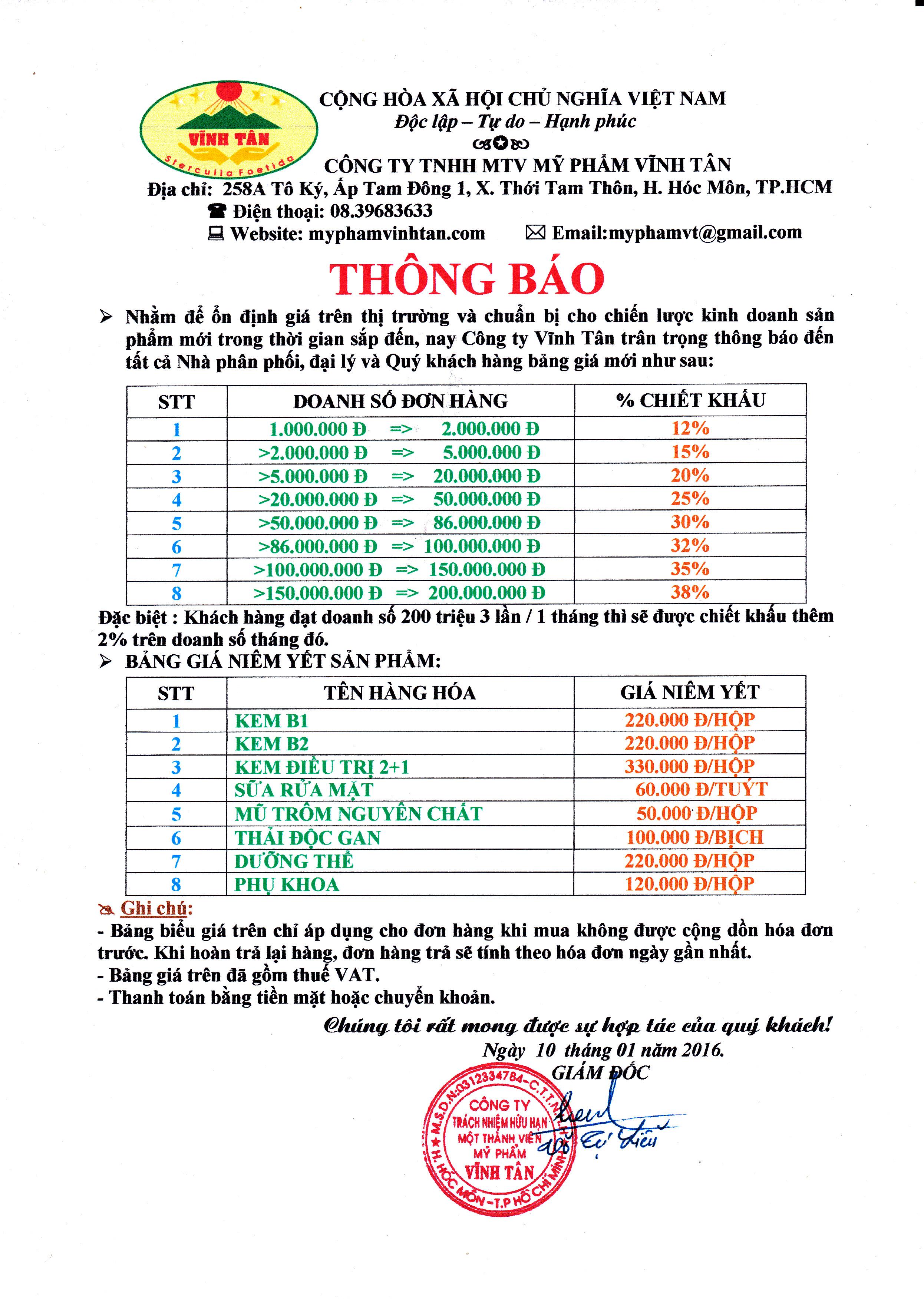 Bảng giá Mỹ Phẩm Vĩnh Tân mới