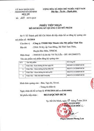 Hồ sơ Mỹ phẩm Vĩnh Tân