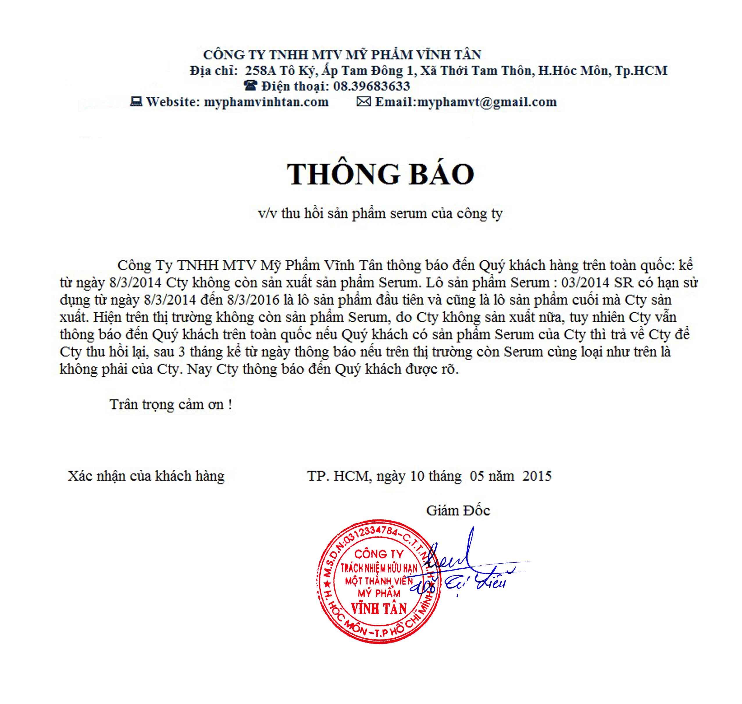 Mỹ Phẩm Vĩnh Tân Xin Thông Báo Ngưng SX Serum Vĩnh Tân